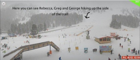 And this is to prove that we did get so bored that Greg, George and I hiked up and then we were told by a Safety Patrol guy they would be opening up the lift in 20 minutes. I think they didn't like us hiking....  :)