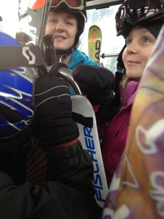 Snuck a pic of some smiles as our day of skiing awaits!