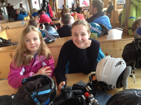 Okay, unfortunately, it was very, very windy. And we did ride a chair lift twice and had two nice short runs on unbelievably good snow! But that got old, so we had hot cocoa and waited for the line for the gondola to go down.
