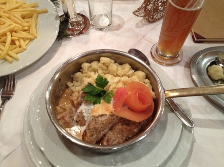 I had something called spaetzle(spätzle), with my pork strips. It is a traditional dish of the area, but I did not care for it. Was a pasta/noodle/maybe like gnocchi....not really sure, but not for me.