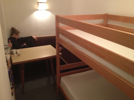 The bunk beds and kitchen....table.