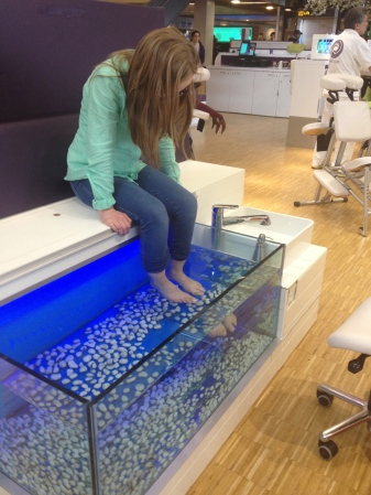 "Maddy has been dying to get this ""fish eating your feet"" pedicure ever since seeing it in Stockholm."