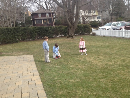 George working on the grass stains, after 3 kids....Easter has become synonymous with Egg Hunt Grass Stains....right!