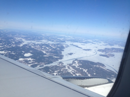 You know you are flying over Stockholm when you see icy water!