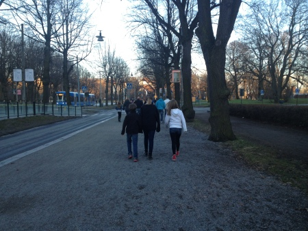 Chilly evening walking to Skansen to experience Valborg eve or Eve of May Day