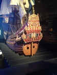 Small replica of the Vasa, and how it would have looked all painted before sitting in the ocean for 200 years.