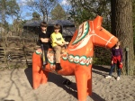 George and Collin on a well worn Dala horse.