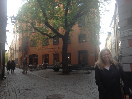 And Diana in another very picturesque little corner of Gamla Stan.
