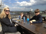 Eating lunch in the sun. Kudos goes to Diana who wanted to try a traditional Swedish plate of shrimp on toast. Once will be enough, thank you!!