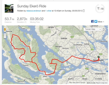 Sunday's ride to Ekerö