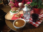 Enjoying a warm cup of soup and sandwich, emphasis on WARM!