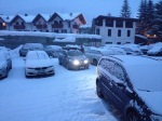 We woke the morning of our departure to LOTS of snow. We did NOT have chains and we were nervous.