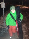 George and  waiting for the bus(then we wait for another bus, and then take a train) after ski practice.