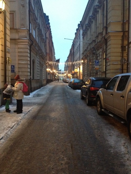 Walking, shopping in Gamla Stan one afternoon. Cold and a bit snowy.