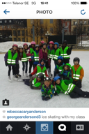 Georges class went on a field trip ice skating in Kungstragården.