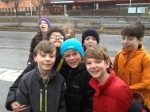 George and some of his classmates after swimming to celebrate Nadia's bday.