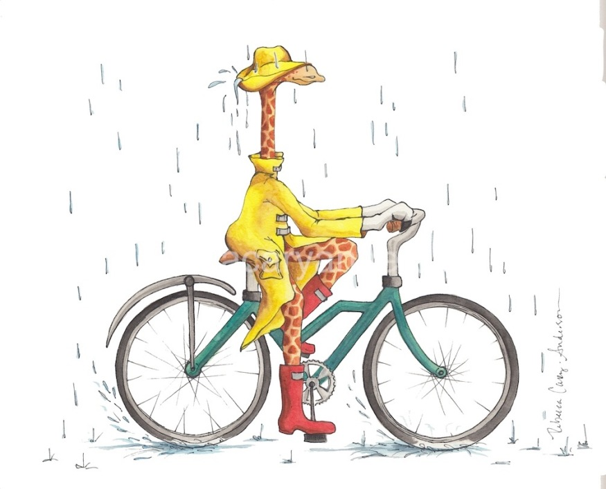 Riding in the Rain 11 x 15 watercolor and ink