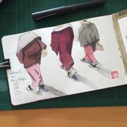 Japanese woman walking to the Meiji temple
