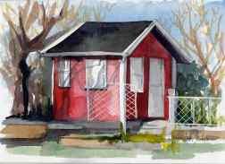 stuga portraitskolonistuga red with white ink fence